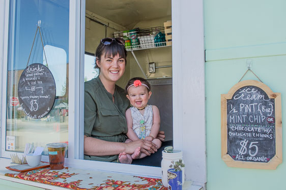 Laura Aubrey & pint-sized helper at The Mint Chip old-fashioned, organic ice cream truck.