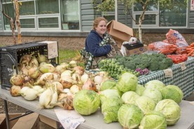Holly Andrew with fall produce from Glacier Valley Farm, Palmer.